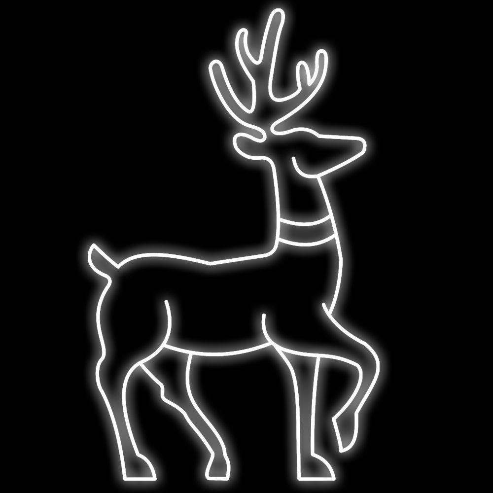 FI-091 - Decoração Metálica Iluminada Led - Rena em pé de Jardim Decoração de Natal Tam 1,07 x 1,75 Metros