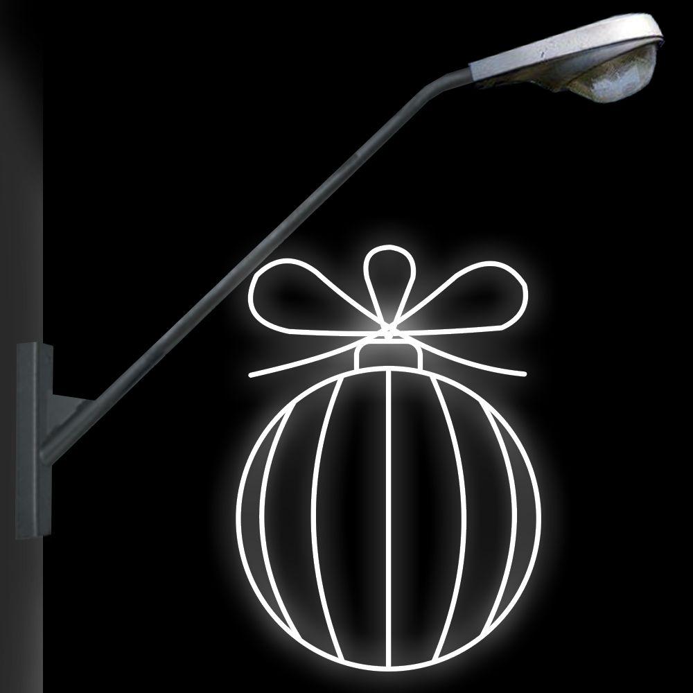 FI-107 - Decoração Metálica Iluminada LED - Bola Listrada - MED 1,12 X 0,80 MTS