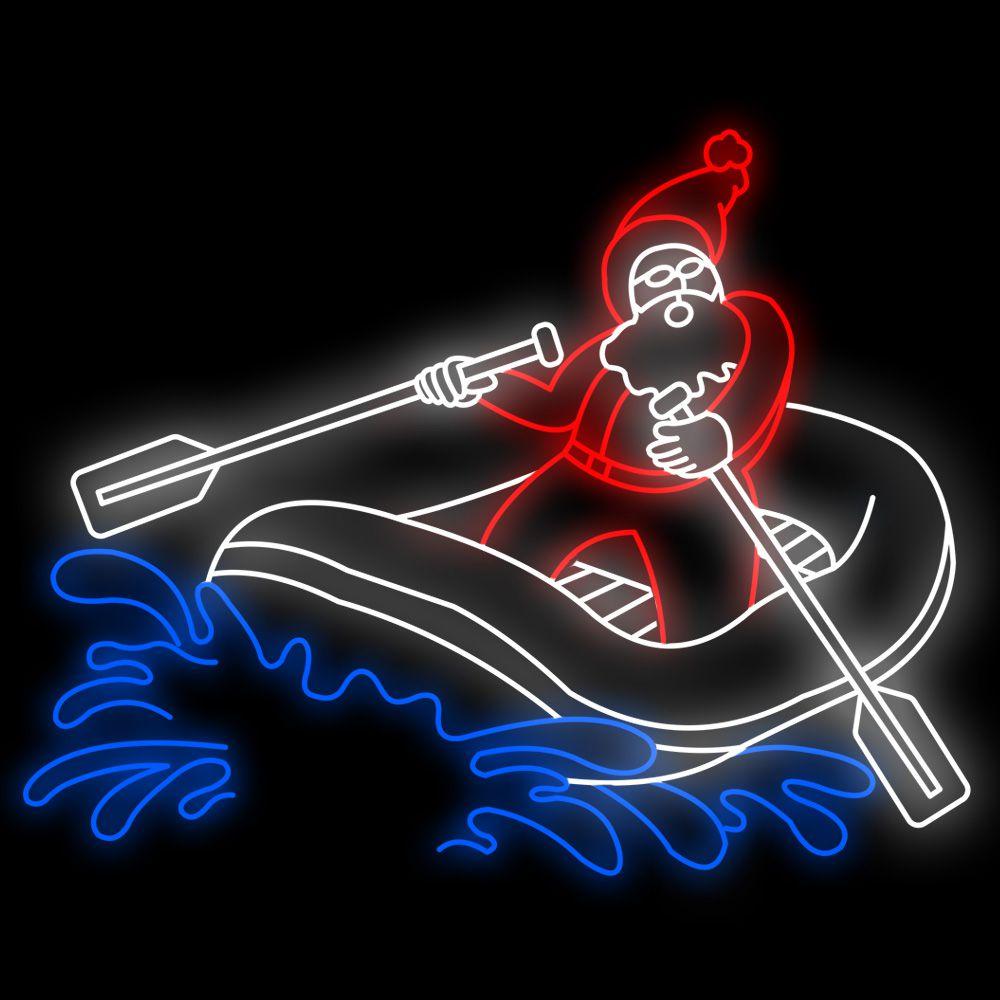 FI-157 - Papai Noel no bote Iluminado - Tam 2,50 x 1,97 metros