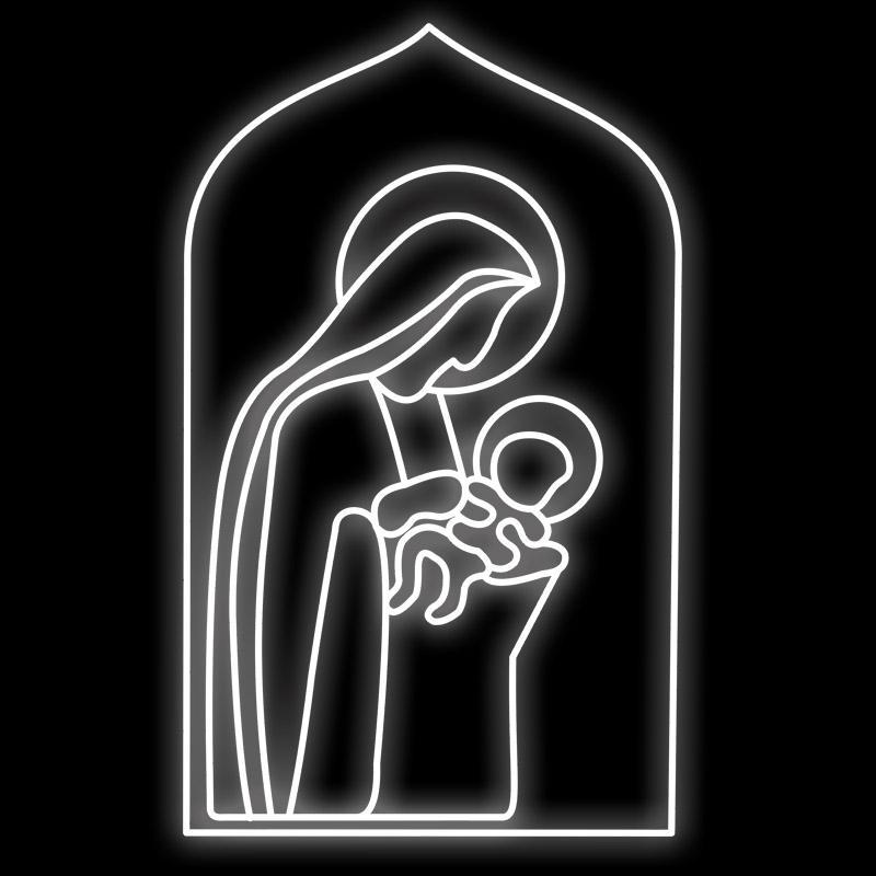 110-FA - Decoração Metálica Iluminada Led - Virgem Maria com Jesus nos Braços - Tam 1,60 x 1,00 Metros