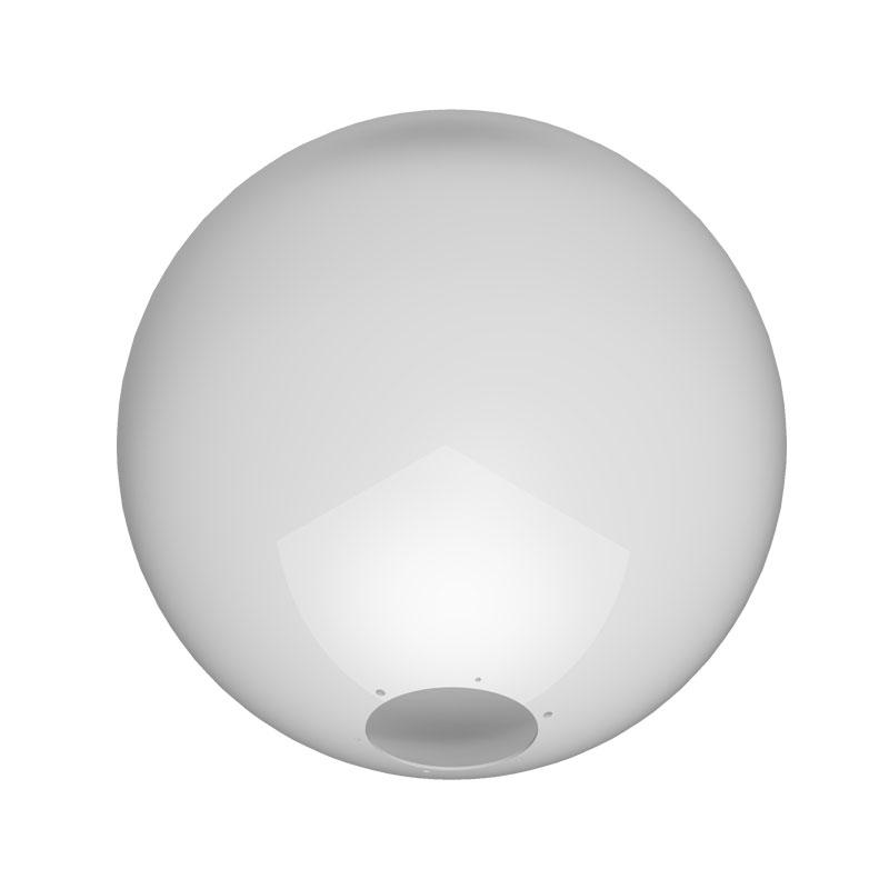R05 - Globo 38cm Esférico para Poste sem Colarinho B-12 - Polietileno Leitoso