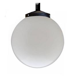R06 - Globo 38cm Globo Esférico para Poste com Canopla Pendente B-12 - Polietileno Leitoso