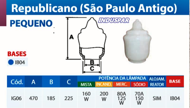 G-IG06 - Globo Republicano Pequeno 47 cm (São Paulo Antigo) Pequeno - Sem Base