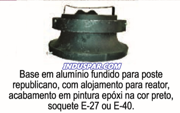 R26 - Globo Republicano 70 cm Grande para Poste Sem Colarinho B-18 - Polietileno Leitoso - Sem Adornos e com Base Alumínio Repuxado