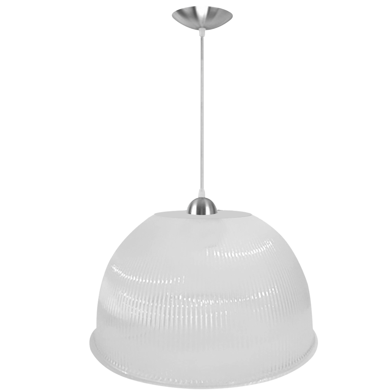 Pendente Prismática 22 Pol Branca Leitosa Acabamento Alumínio Soquete E27 - L01-22BL/AL