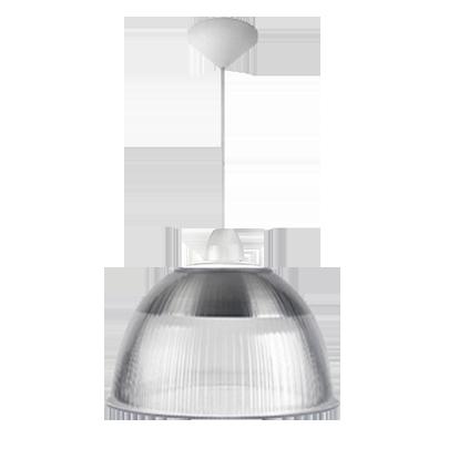 Luminária Pendente Cone Prismática 16 Pol Cristal - Acabamentos Branco Soquete E40 - L03-16CR/BR