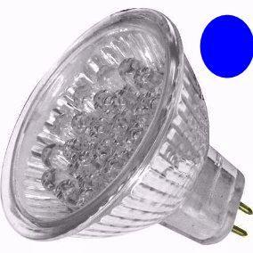 Lâmpada Dicróica Led MR16 Gx6.35 Azul 127V 18 Led 1,2W