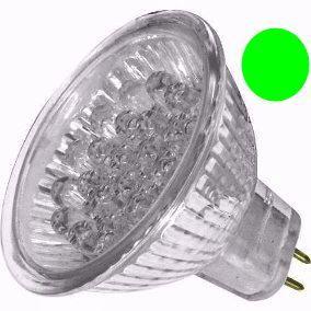 Lâmpada LED  1,3W Dicróica 20 LEDs MR16 Verde Gx6.35
