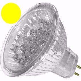 Lâmpada Dicróica Led MR16 Gx5.3 Amarela 18 Led 12V