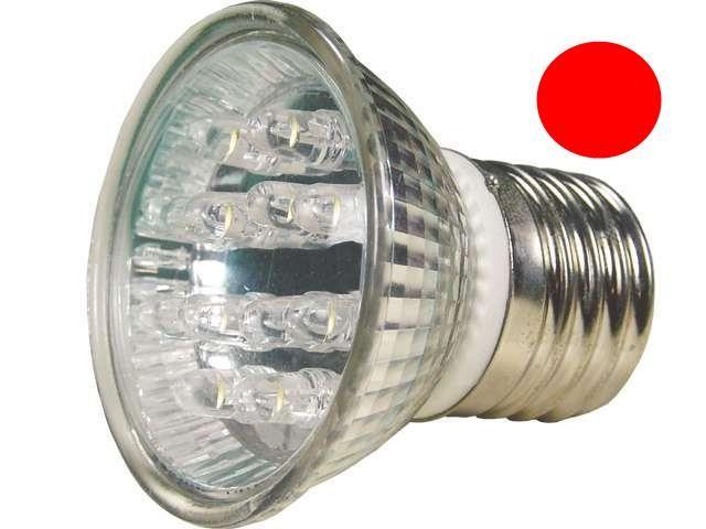 Lâmpada LED  1W Dicróica 18 LEDs E27 Vermelha 127V