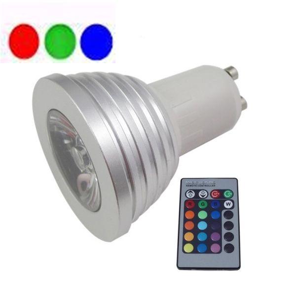 LL04 - Lâmpada Dicróica Led MR16 Gu10 RGB com Controle 3 LEDs Bivolt 1714