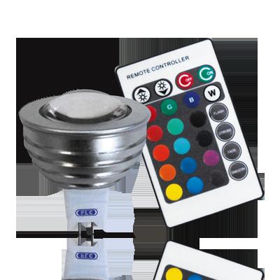 Lâmpada LED  3W MR16 com Controle Remoto 12V RGB Gu5.3