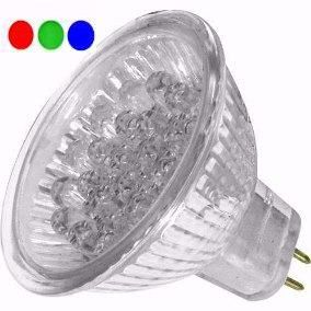Lâmpada LED Dicróica 18 LEDs MR16 Gx6.35 RGB 127V