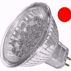 Lâmpada Dicróica Led MR16 Gx6.35 Vermelha 18 Led 1W 12V
