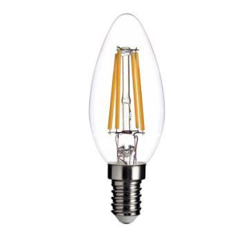 LL08 - Lampada LED Vela Lisa 4W Vintage Transparente Carbon Branco Quente - 240 Lúmens