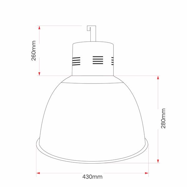 Luminária Prismática 16 Polegadas  Acrílica Industrial Balde E27 ou E40 - LP0616
