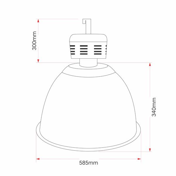 L08- Luminária Industrial Prismática 22 Pol Alojamento Taça