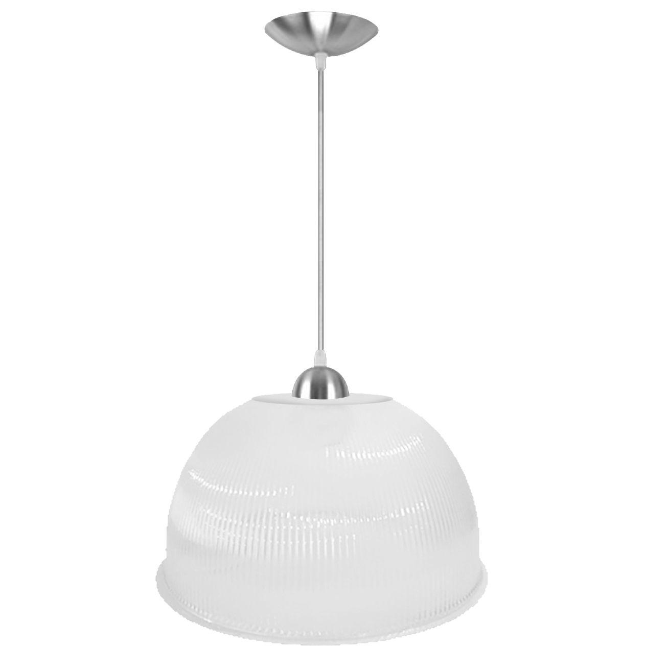 L01- Luminária Pendente Prismática 12 Pol Branco Leitoso - Acabamentos Alumínio - E27
