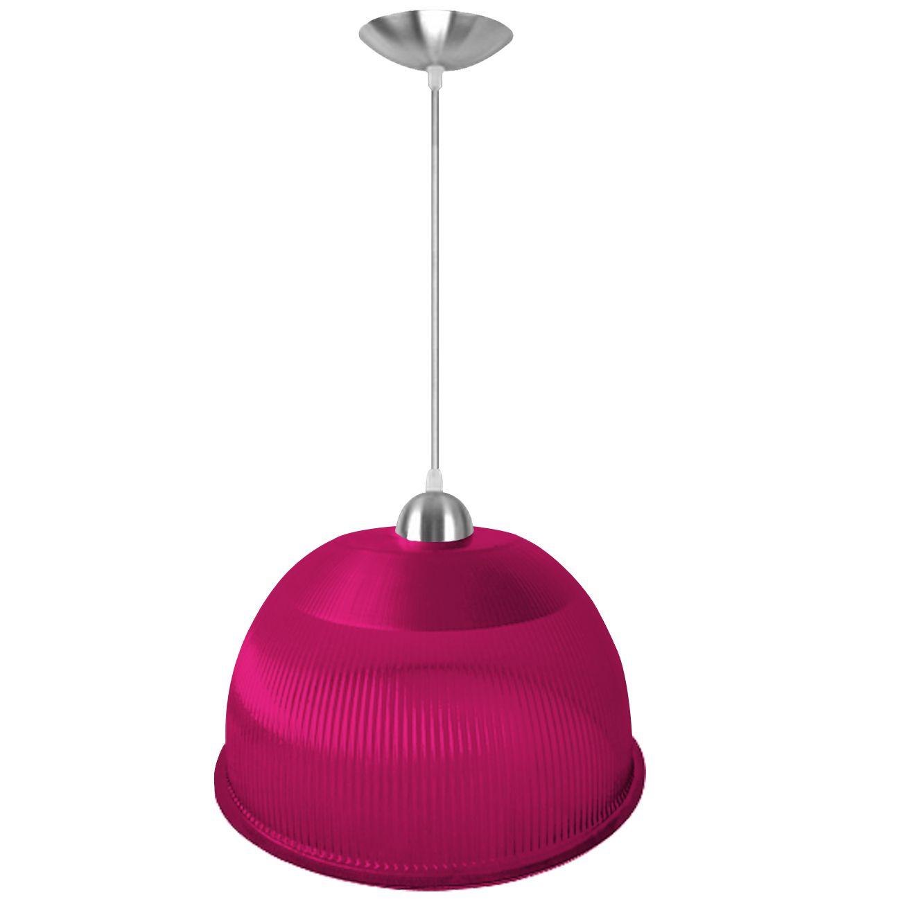 Luminária Pendente Prismática 12 Pol Rosa Acabamentos Alumínio Soquete E27 - L01-12RS/AL