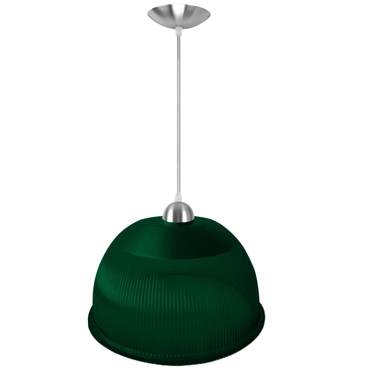 L01- Luminária Pendente Prismática 12 Pol Verde Acabamentos Alumínio