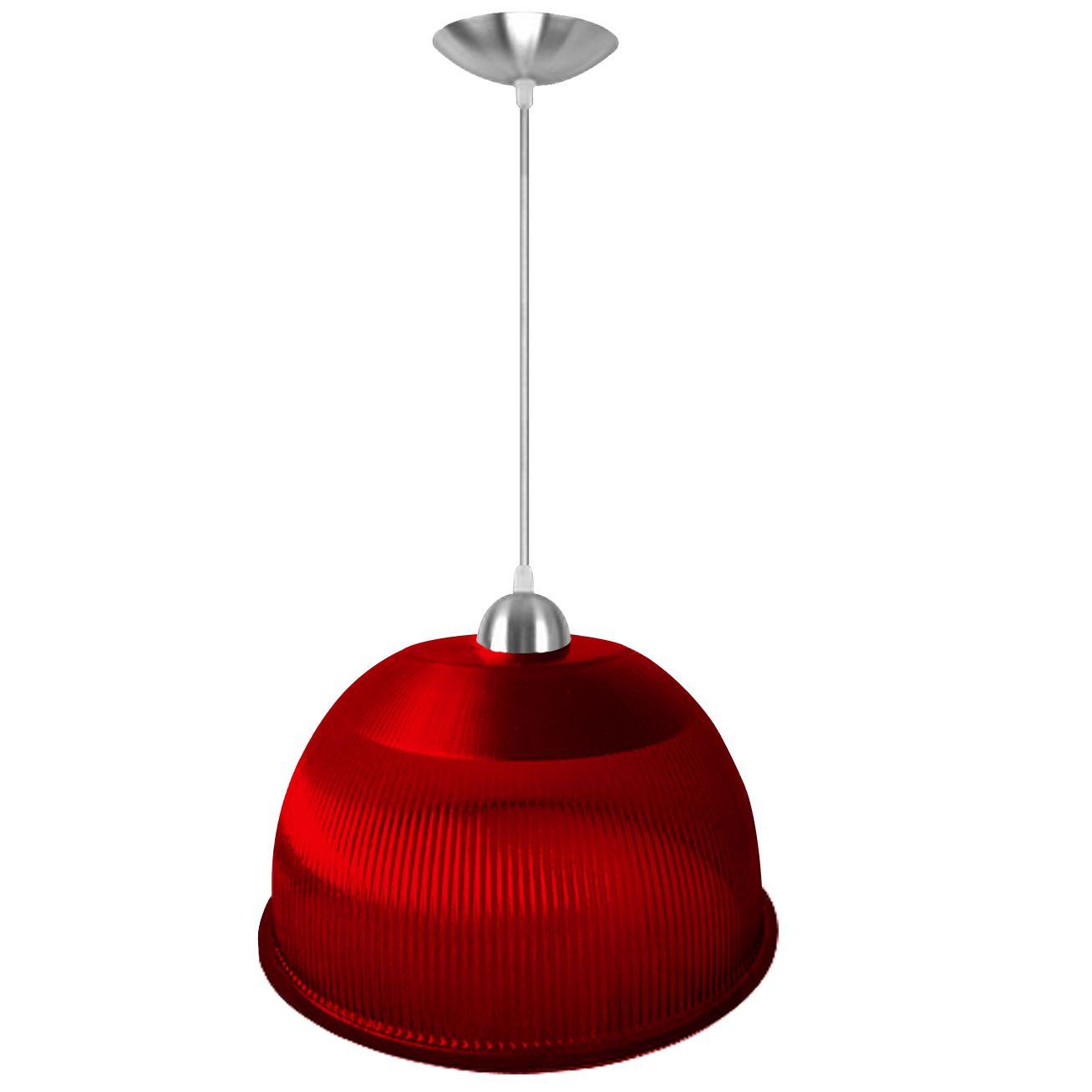 L01-12VM/3 - Luminária Prismática 12 Polegadas Acrílica Pendente Vermelha Luxo