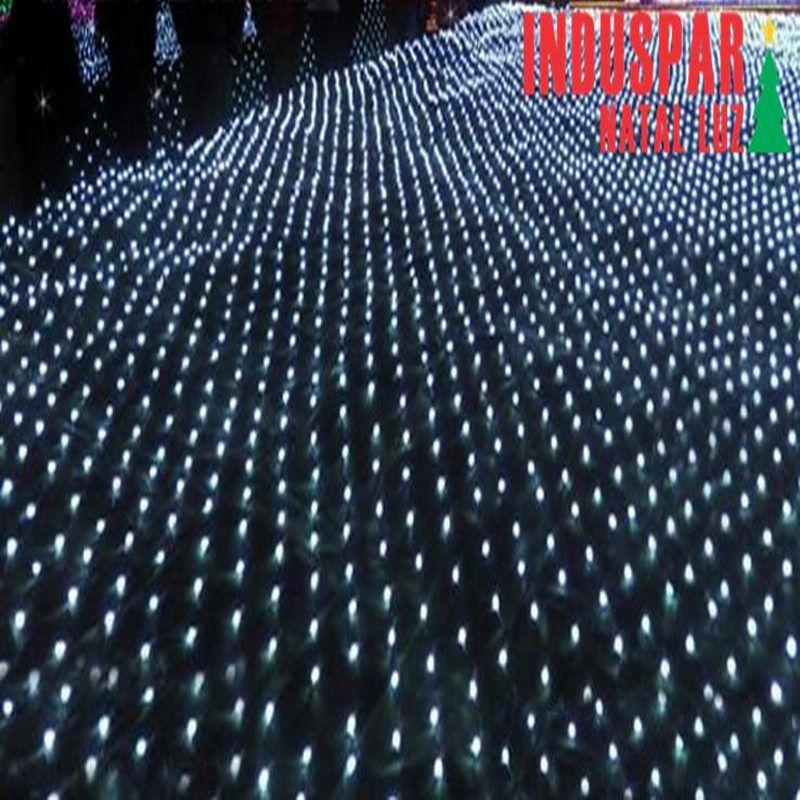 Rede 120 Led Branco Frio c/ Estrela 8 Funções Tam. 3,50 mt Fio Branco