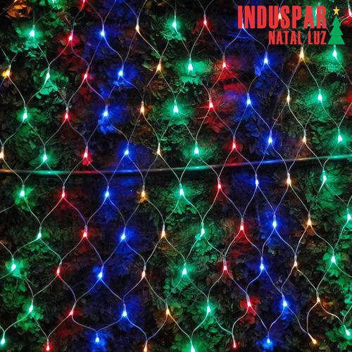 Rede 120 Led Colorido c/ Estrela Multi Função Tam. 3,50 mt Fio Branco