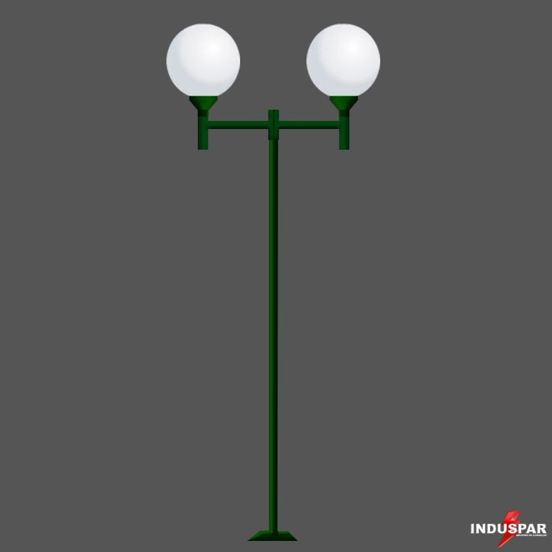 P01G/2 - Poste de Jardim Colonial 2 Globos de 30 cm