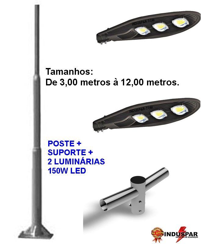 Poste de Iluminação Led Reto - 2 Luminárias Pétala 150W (3 à 12 Metros)