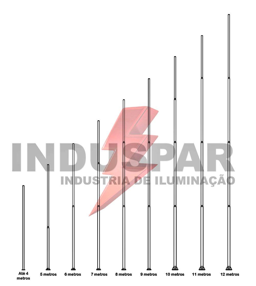 P01L/4 - Poste de Iluminação Led 4 Luminária Pétala - Reto 100W (3 à 12 Metros)