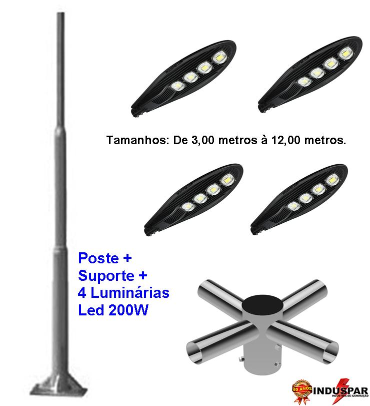 Poste de Iluminação Led Reto - 4 Luminárias Pétala 200W (3 à 12 Metros)
