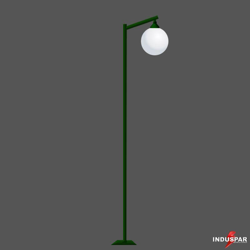 P02G/1  - Poste de Jardim Reto Angular 1 Globo de 30 cm
