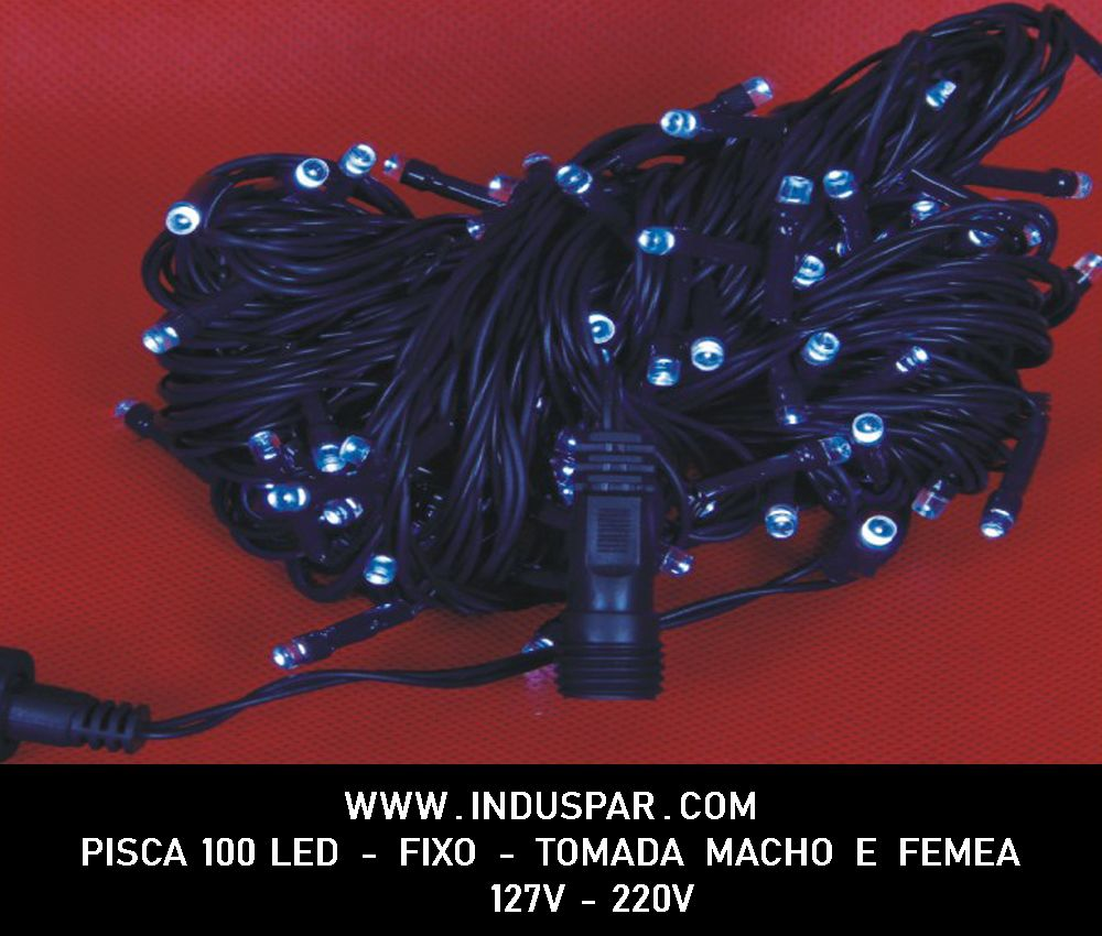 Pisca Pisca Verde 100 Led Fio Verde - Fixo Macho e Fêmea