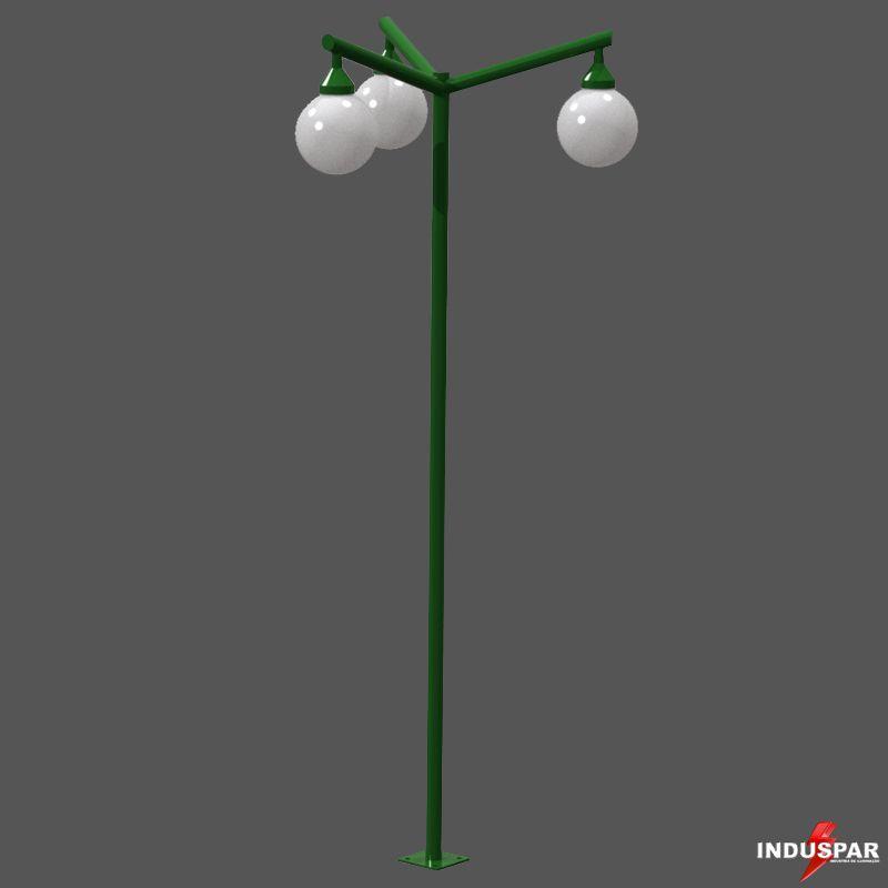 P02G/3  - Poste de Jardim Braço Angular 3 Globos de 30 cm