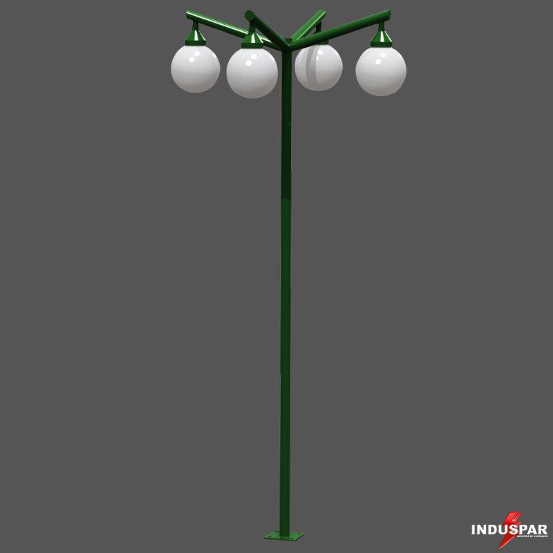 P02G/4  - Poste de Jardim Braço Angular 4 Globos de 30 cm