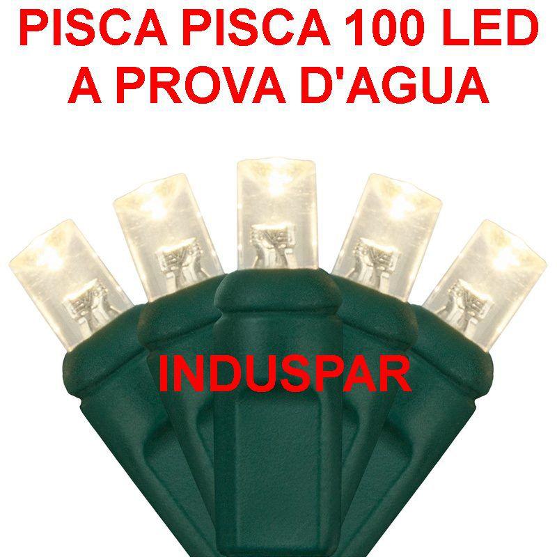 N23-FX/08VD - Pisca Pisca 100 Led Branco Frio Fixo  Fio Verde 10 mts - 2023 / 2523 - A prova d'agua