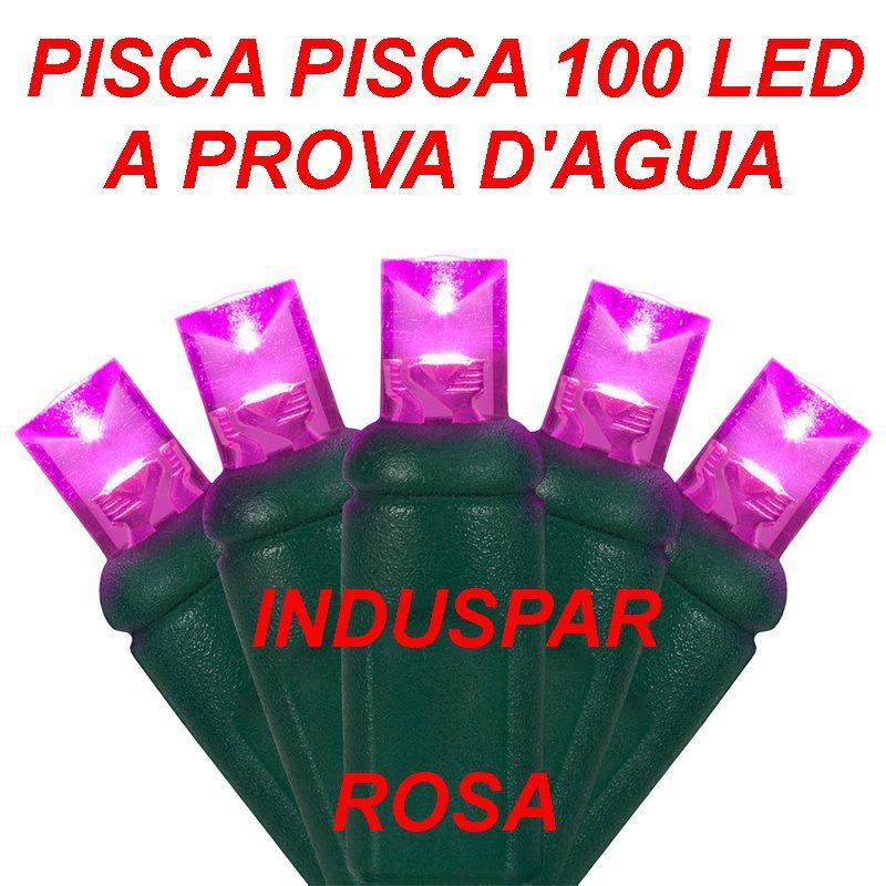 Pisca Pisca Rosa 100 Led Fio Verde - Fixo Macho e Fêmea Ref 2514 220V - A prova d'agua