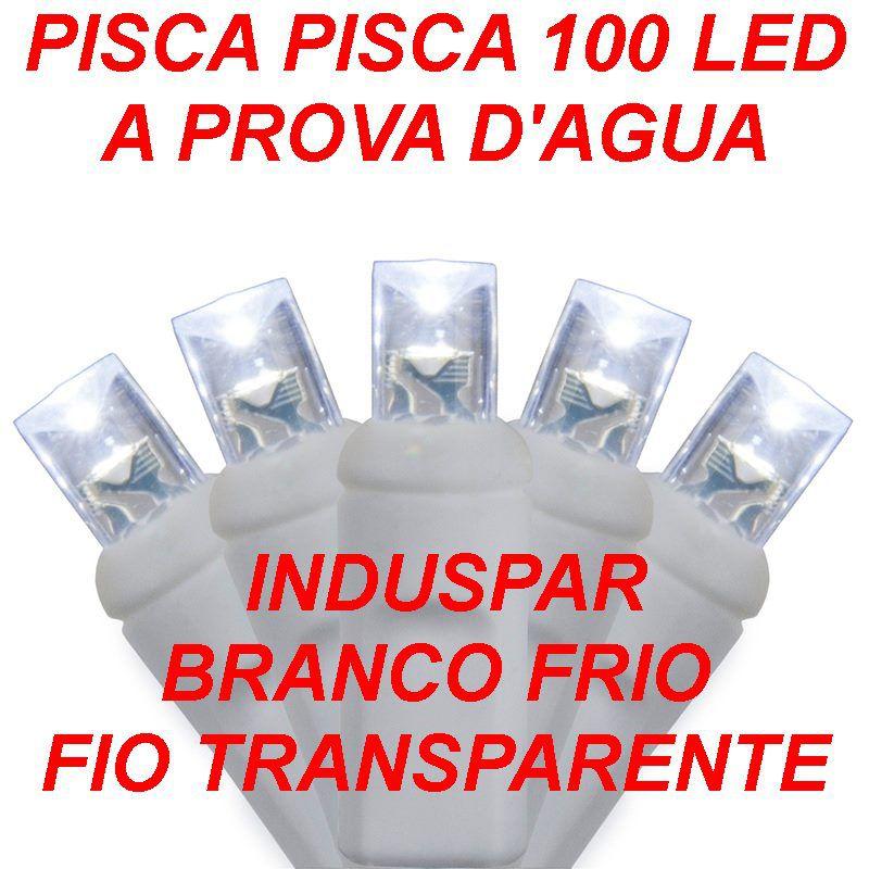 Pisca Pisca Branco Frio 100 Led Fio Transparente - Fixo Macho e Fêmea - A prova d'agua