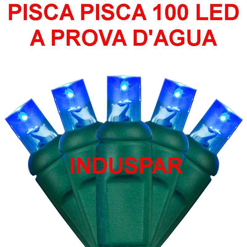Pisca Pisca Azul 100 Led Fio Verde - Fixo Macho e Fêmea 220V - A prova d'agua