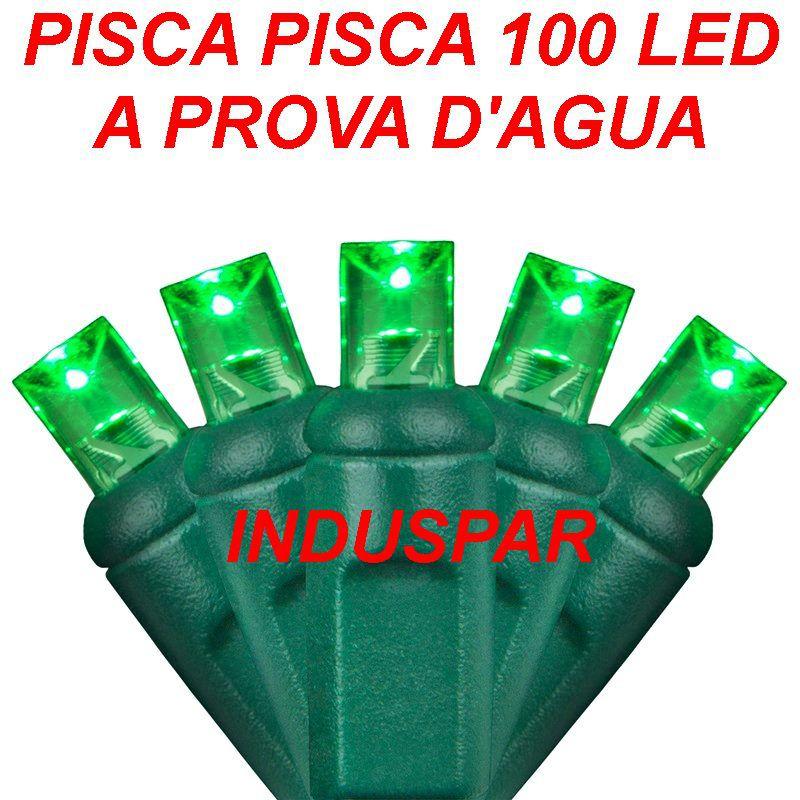 Pisca Pisca Verde 100 Led Fio Verde - Fixo Macho e Fêmea Ref 2516 220V - A prova d'agua