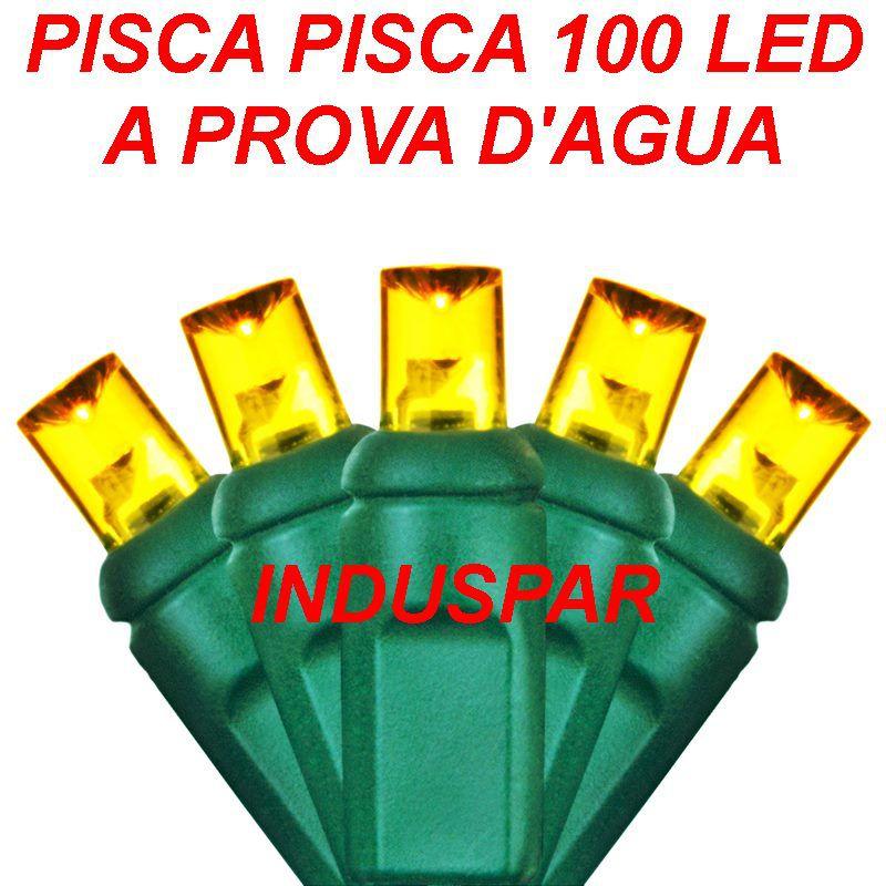 Pisca Pisca Amarelo 100 Led Fio Verde - Fixo Macho e Fêmea  220V - A prova d'agua