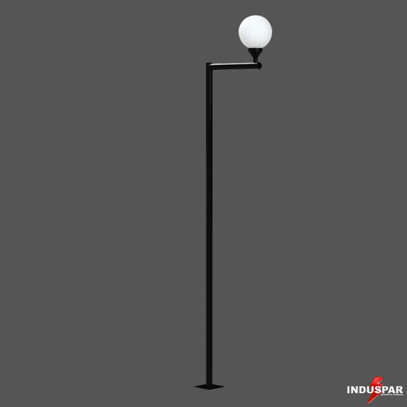 P03G/1  - Poste de Jardim Braço Reto 1 Globo de 30 cm