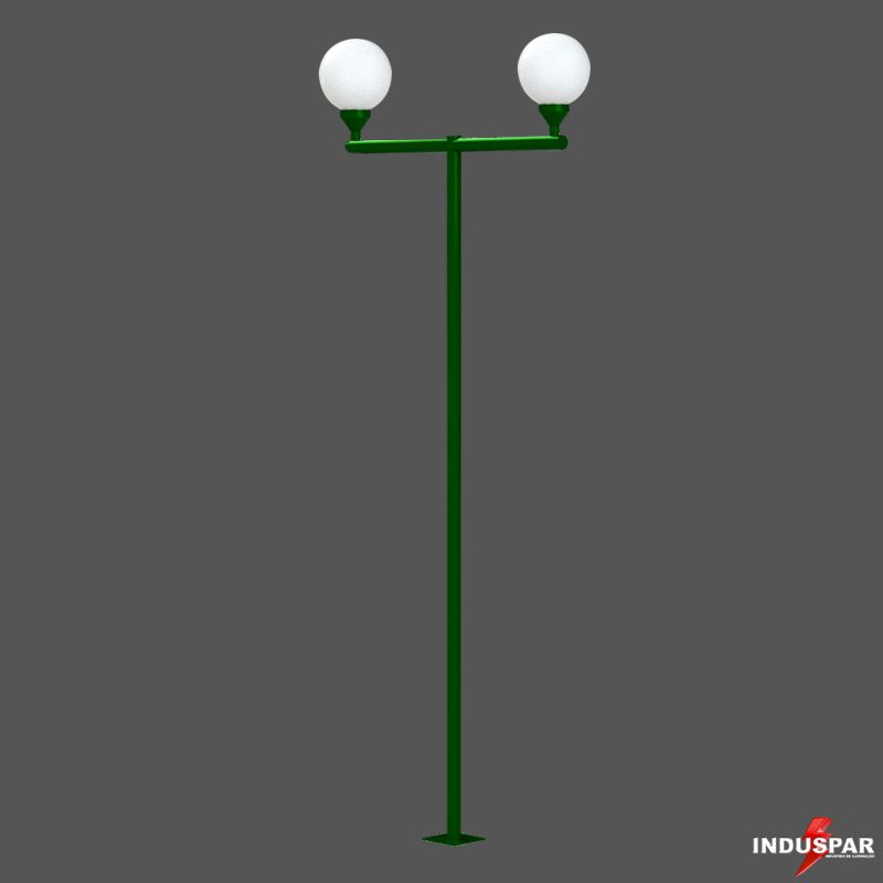 P03G/2  - Poste de Jardim Braço Reto 2 Globos de 30 cm