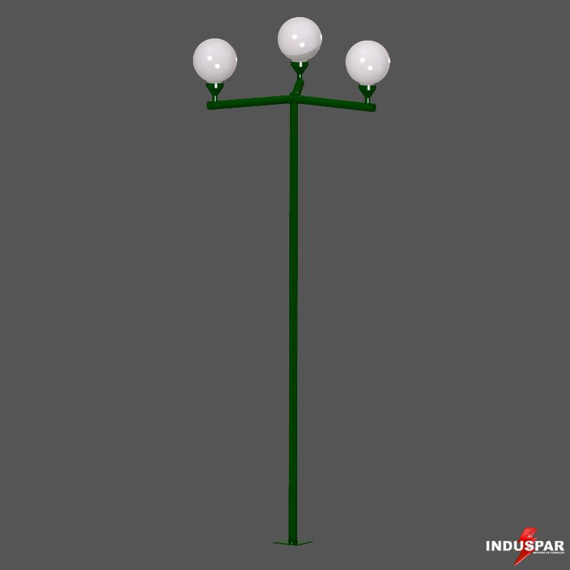 Poste Colonial de Jardim - P03G/3 - 3 Globos 30 cm Braço Reto