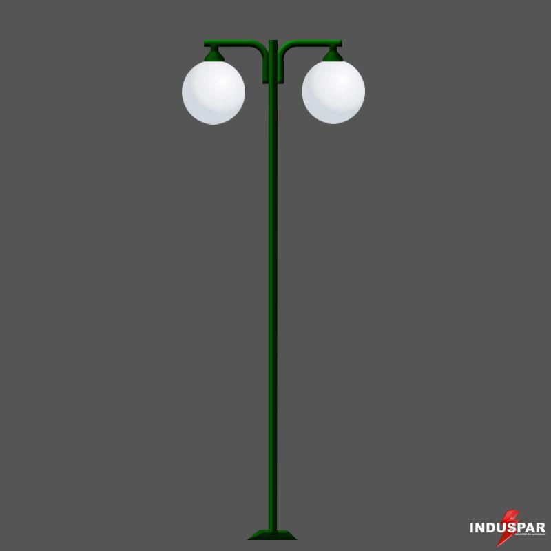 P04G/2  - Poste de Jardim Braço Pendulo  Globos de 30 cm