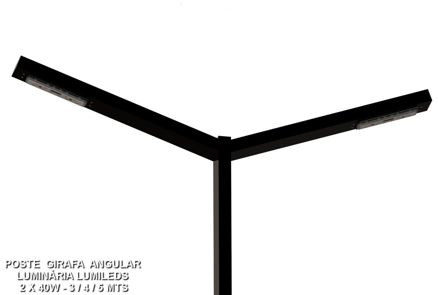 Poste de Jardim Girafa Reto Led - 1 Pétala 40W 5.000 Lúmens - P05L/1-40W