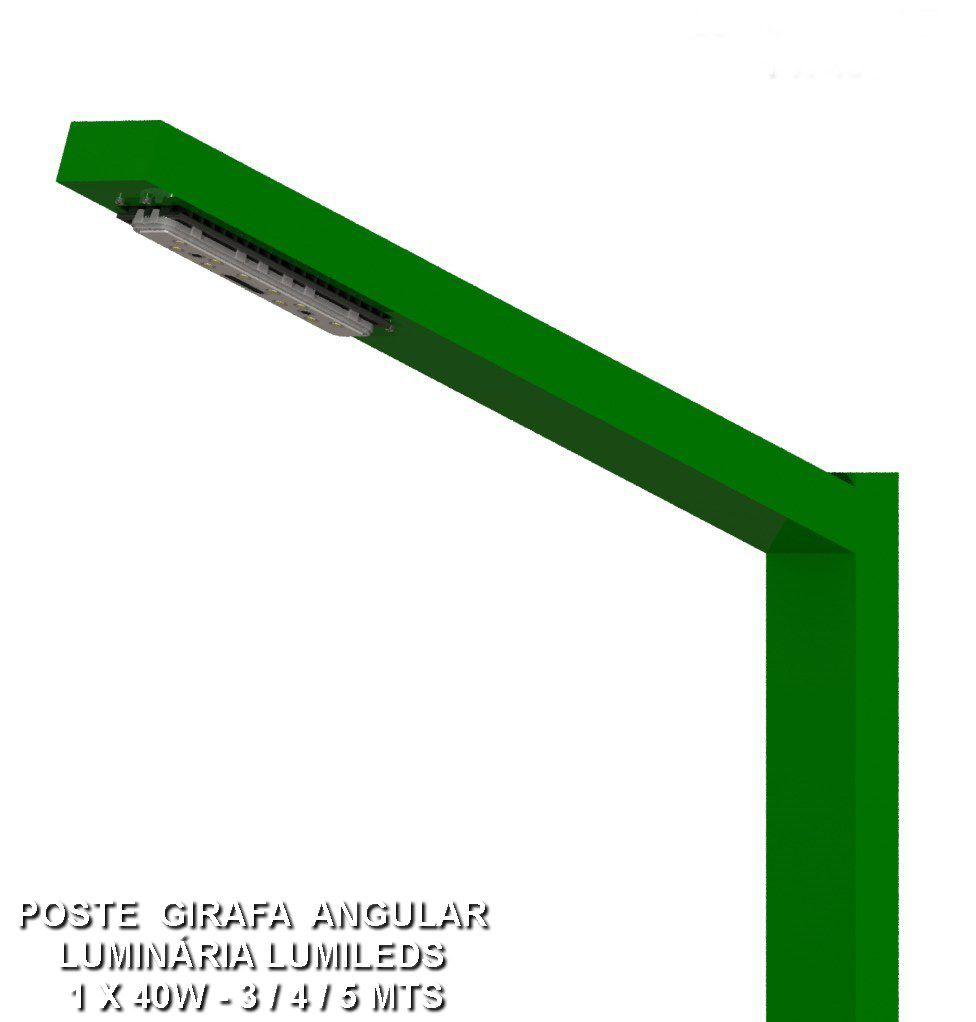 Poste de Jardim Girafa Angular Led - 1 Pétala 40W 5.000 Lumens - P04L/1-40W
