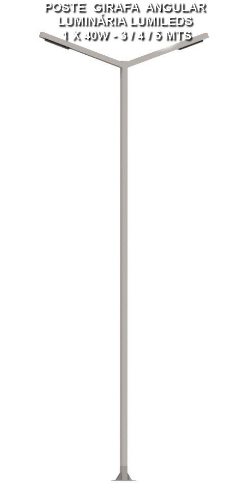 P04L/2 Poste de Jardim Girafa Led Angular- 2 Pétala 40W 5.000 Lumens
