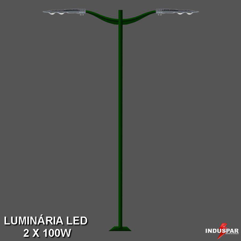 P13L/2 - Poste de Jardim Led 2 Luminárias - Safira