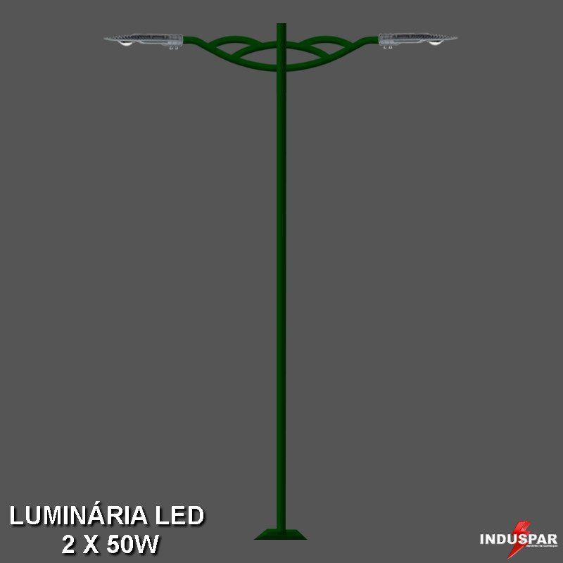 P14L/2 - Poste de Jardim Led 2 Luminárias - Turquesa